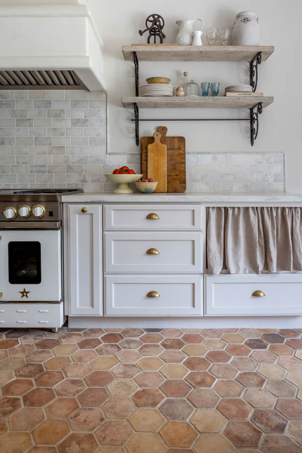 Arto Brick Artillo Hexagon in Cream Fraiche with Vintage texture.