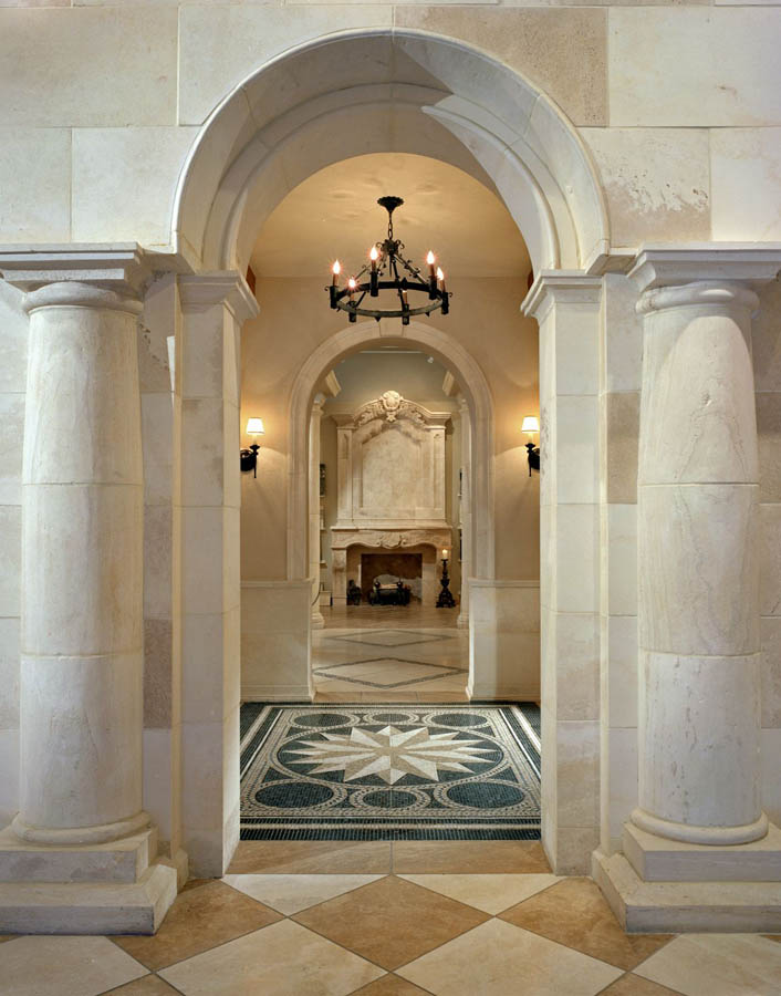 Custom Columns and Fireplace in Limestone with Travertine Tile