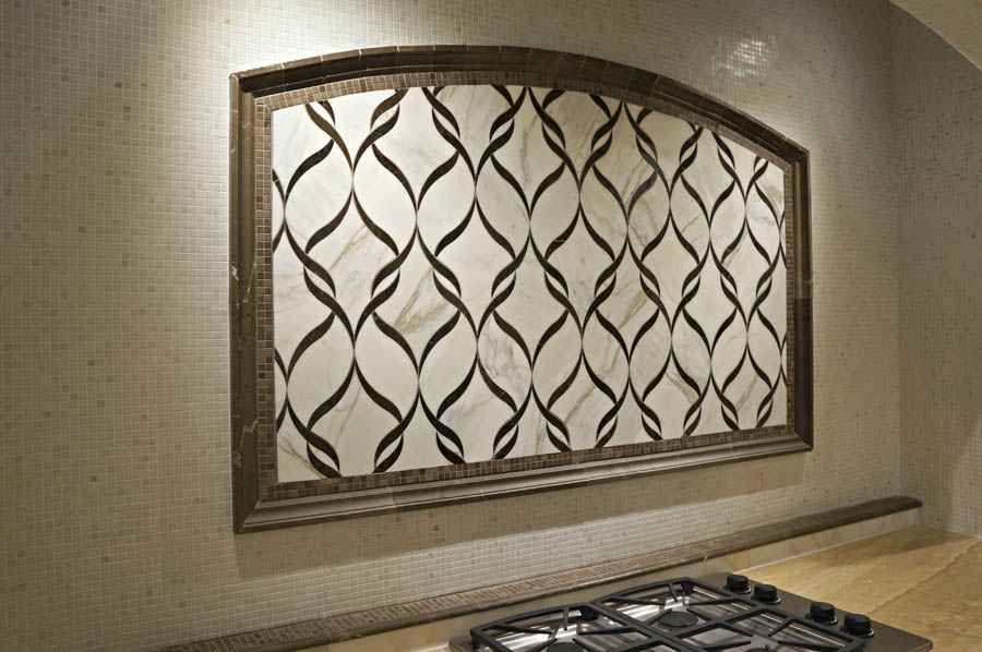 New Ravenna Mosaic with Moulding #744 in Sable Honed and 1/2