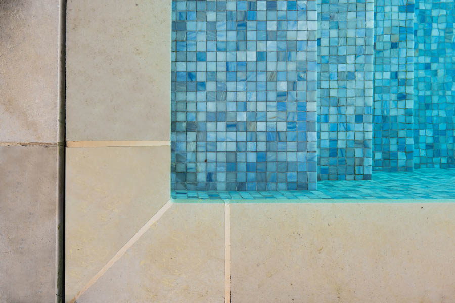 Honed Pool Coping with Sicis Tile