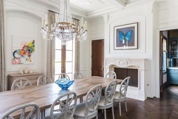 Luxury dining room with lots of architectural moulding