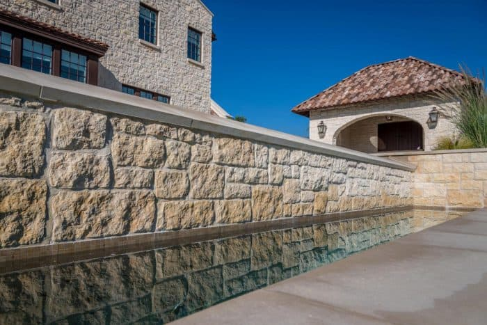 Stone wall by the pool