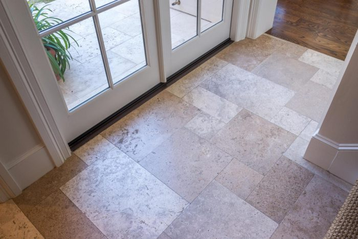Stone tiles in the lobby
